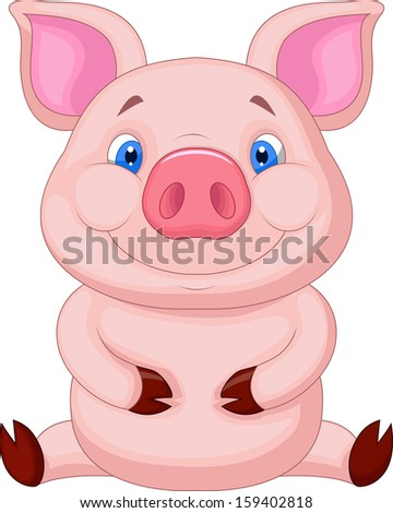 Cute baby pig sitting #159402818