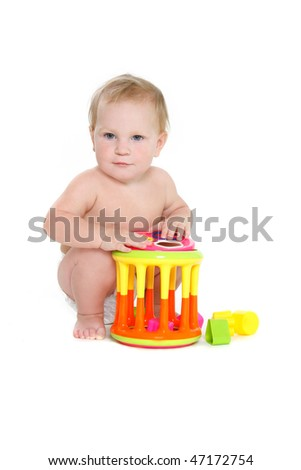 cute baby playing over white