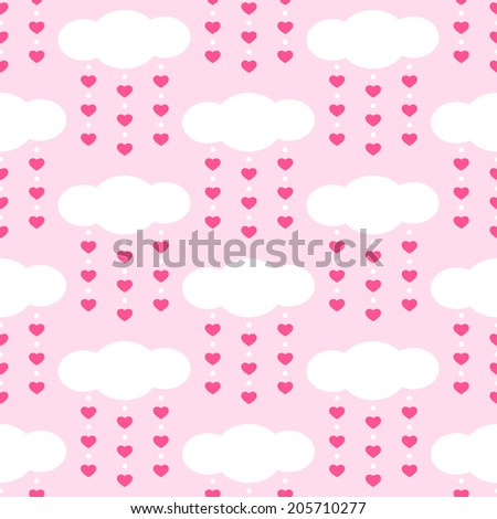 Cute baby retro seamless background as clouds with drops hearts ideal for baby shower