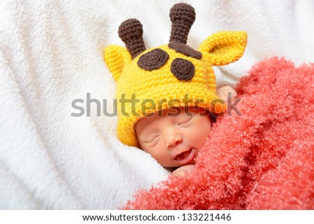 Cute Baby Sleeping In Funny Hat And Smiling In Sweet Dreams Beautiful ...