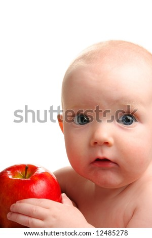 Cute baby with delicious red apple isolated on white