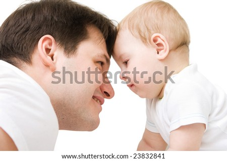 Cute baby with father. Isolated over white