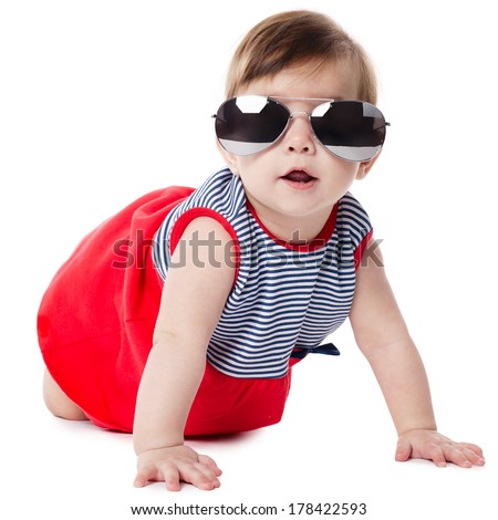Stock Photo cute baby with sunglasses isolated on white background