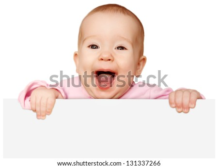 cute baby with white blank banner in hand isolated