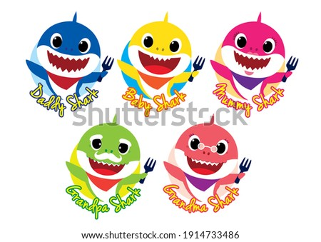 Cute babyshark in one family. Whole family with daddy baby mummy granpa and grandma. fully in color and editable