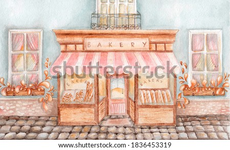 Cute bakery. Cozy cafe. Soft watercolor illustration. Watercolor bakery building.