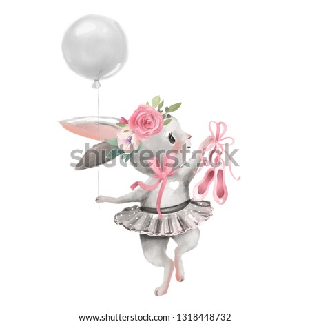 Cute ballerina, ballet girl baby bunny with flowers, floral wreath in a ballet dress with balloon and shoes