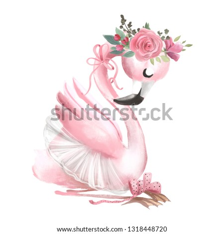 Cute ballerina, ballet girl baby flamingo with flowers, floral wreath in a ballet dress