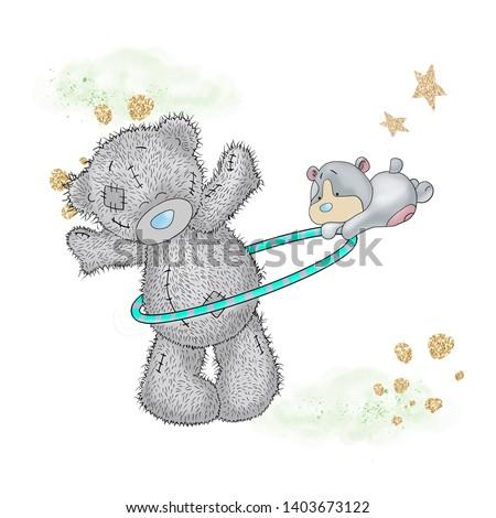 Cute bear and cute dog hulahop twinkle star