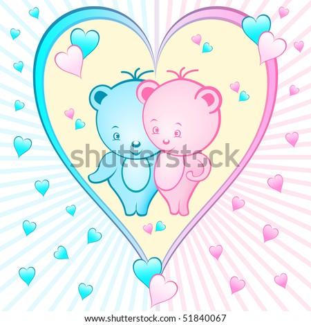 Cute bear cartoon characters set inside a large pink and blue love heart