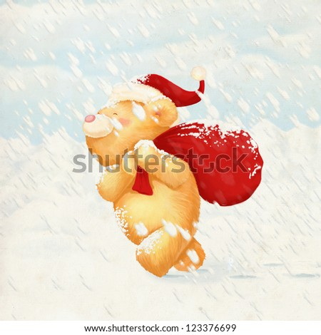 cute bear christmas card - stock photo