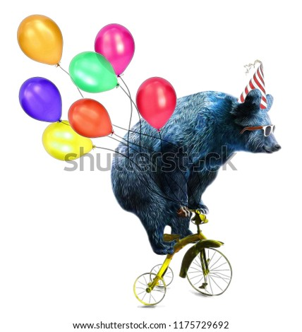 Cute bear circus show illustration. Performance of the bear on bike.T-shirt graphics.Funny cartoon characters. Animal print.Birthday celebration card.