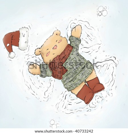 cute bear making snow angel  (illustration or Christmas Card design)