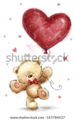 Cute bear with big red heart. Love design. birth, joy, salutation, greeting, courtship, art, love me, sketch, party, invitation, Be my wife. Love heart. Love poster. bow, hearts background, big heart