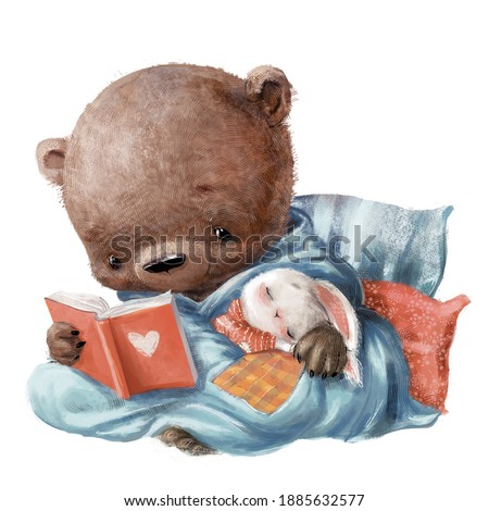 cute bear with little hare reading the book