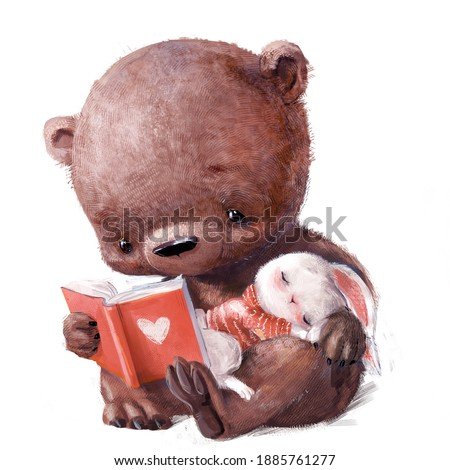 cute bear with sleepinh white hare and book