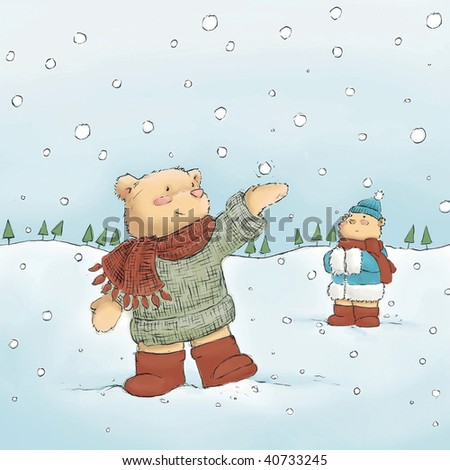 cute bears in snow  (illustration or Christmas Card design)