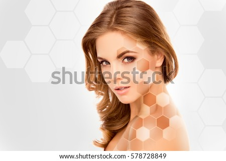 Cute beautiful female face with various types of skin tone.