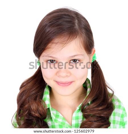 cute beautiful teen girl in the checkered shirt