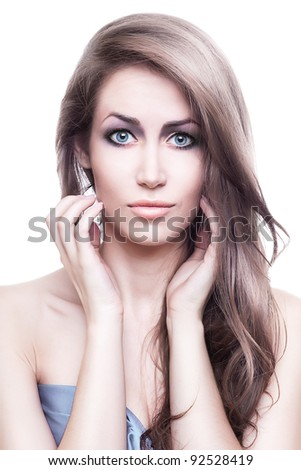 cute beautiful woman with long hair on white background