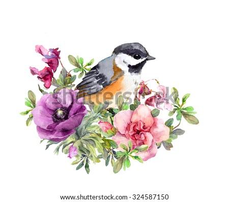 cute bird in flowers. vintage...