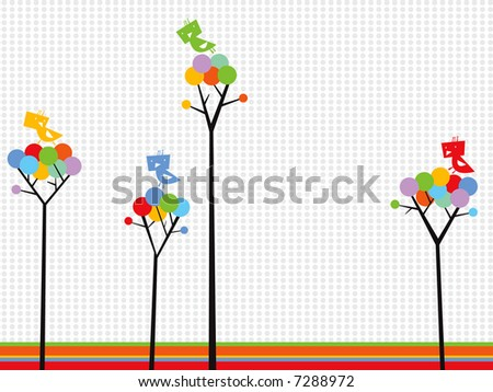 cute birds on color dots trees (raster)