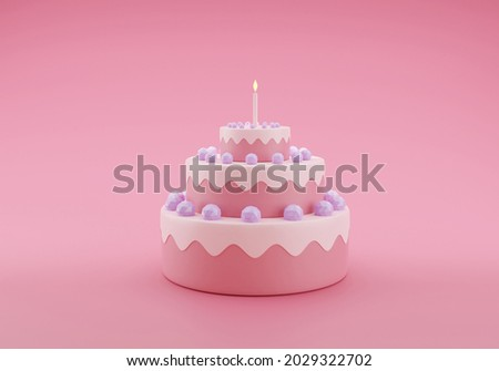 Cute birthday cake 3d rendering pink color 3 floors with a candle, Sweet cake for a surprise birthday, mother's Day, Valentine's Day on a pink background