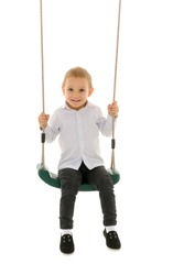 Cute Blond Boy Swinging on Rope Swing and Looking at Camera