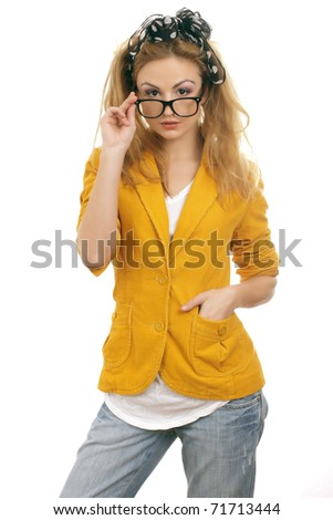 stock photo : Cute blond teen model with glasses.Isolated on white