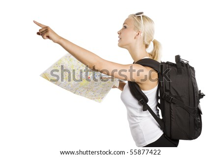 cute blond tourist girl with map and backpack point her finger at something