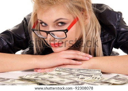 cute blonde girl with money on white