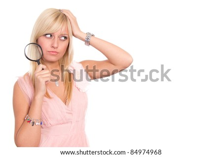 cute blonde posing on a white background