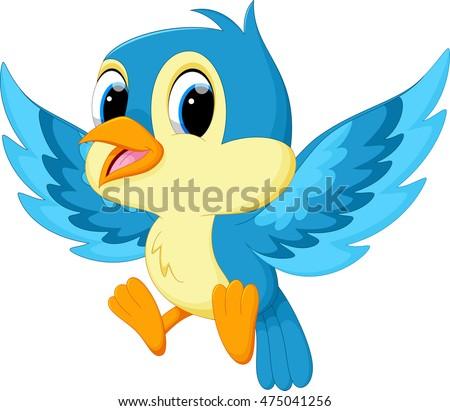 Royalty Free Cute Cartoon Blue Birds Vector 66959173 Stock Photo