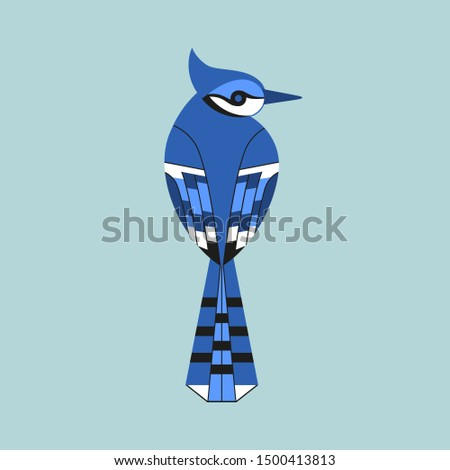 Cute Blue Jay bird flat color icon. Sitting animal sign. Minimalist simple geometric style winter birds of woodland, backyard. Birdwatching element design idea. Scavenging card background illustration