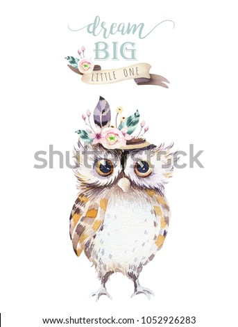 Cute bohemian baby owl animals for kindergarten, woodland nursery isolated decoration forest owls illustration for children forest animal pattern. Watercolor hand drawn boho set