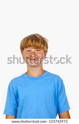 cute bold faced boy with white wall background