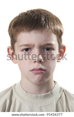 Cute boy anger isolated on a white background