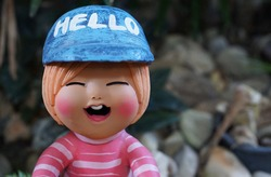 cute boy clay doll smile with quote