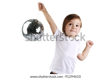 cute boy dancing with a mirror ball in the white T-shirt on a white background