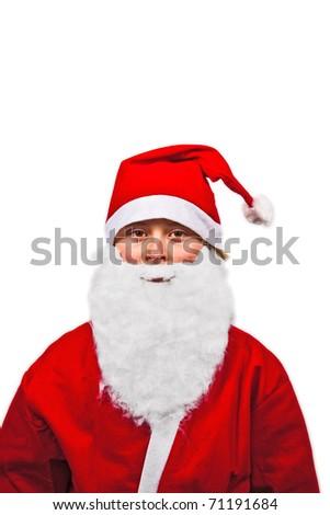 cute boy dressed as Santa Claus