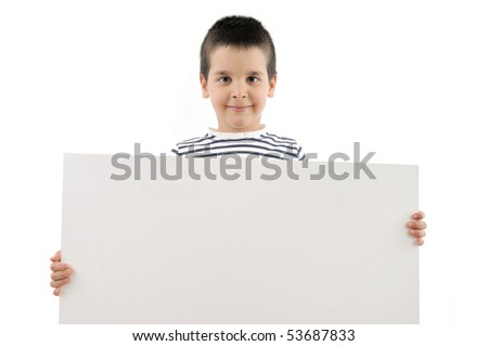 Cute boy holding a blank signboard to write it on whatever you want.