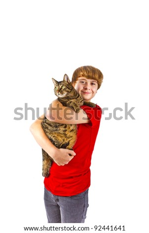 cute boy hugging with his cat