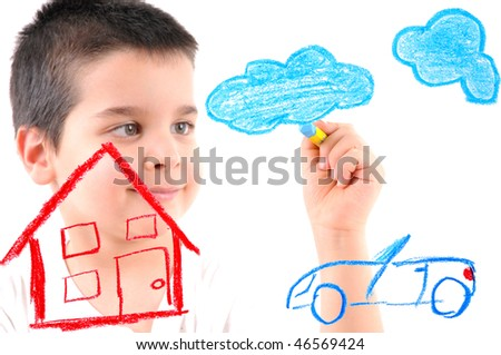 Cute boy painting a house, car and clouds on glass. White background high resolution studio image.