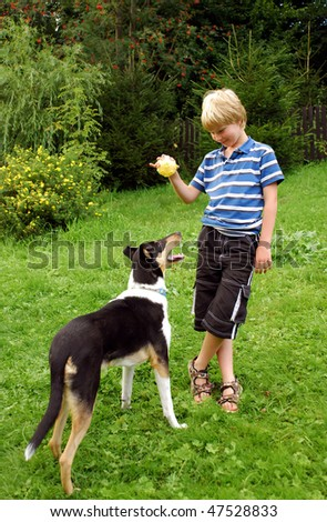 Cute boy plays with his dog - stock photo