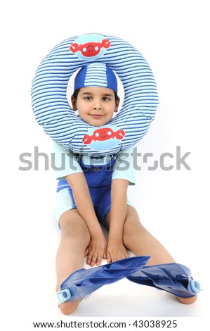 Cute boy ready to swim and dive isolated on white background.