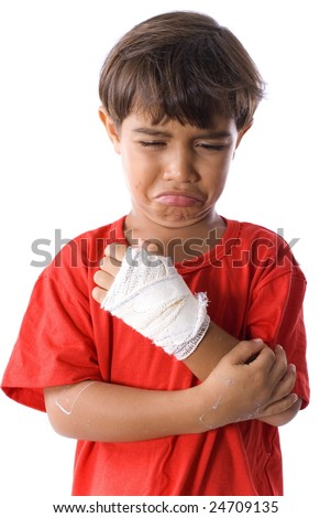 Cute Boy Sad with his hand hurt .