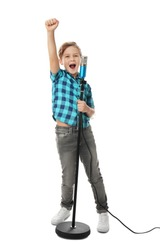 Cute boy singing in microphone on white background