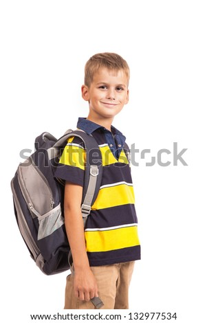 Cute boy smiling isolated on a white background
