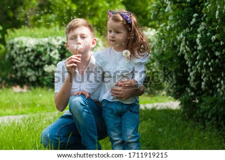 cute brother and sister play together in summer park Foto stock ©