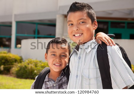 Cute Brothers Wearing Backpacks Ready for School.